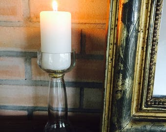 Recycled glass bottle candle holder