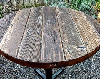 Barn wood / reclaimed redwood / metal edge table top only/ barrel top table / pub table / dinning / FREE shipping