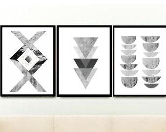Printable Triptych, Scandinavian Art, Geometric Art, Abstract Art , Grey Wall Art, Textured Art, Set of 3 Prints, Digital download