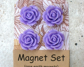 Magnet set, Lavender or custom color - floral cabochon mangets, set of 4 or 6 flower fridge magnets with rare earth magnets