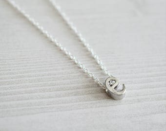 Silver E Initial Necklace | Dainty Letter Necklace | Layering Necklace
