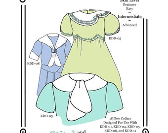 """PDF Pattern KDD/SS-Collars ~ 18 Supplemental Collar patterns for use with KeepersDollyDuds Patterns, Fits 18"""" Dolls"""