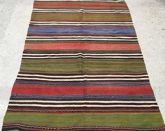 Great Colors Rug!! Simple Design Rug,Oushak Rug, Vintage Rug,Blue,Red,Green Stripe Rug,İnterior Design ,7'2x4'4 feet, Boho rug Turkısh Rug