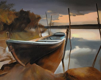 Boat, Landscape Painting, Canvas Painting, Original Oil, Hyperrealism painting, Nature Painting, Trees, Water painting, Lake, River Painting