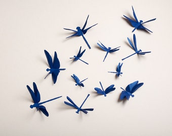 Dragonfly Wall Art: Paper Dragonflies For Woodland Nursery, Party Decor In  Cobalt Blue Metallic