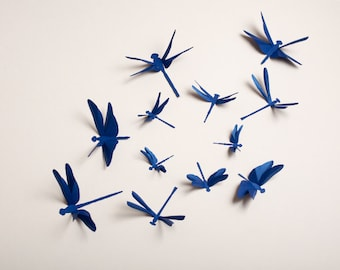 Captivating Dragonfly Wall Art: Paper Dragonflies For Woodland Nursery, Party Decor In  Cobalt Blue Metallic