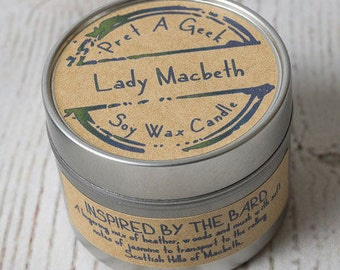 Lady Macbeth Soy Wax Candle // Literary Candle // Inspired by the Bard // Shakespeare Literary Candles // 4oz