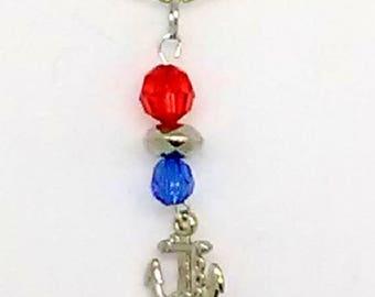 Silver Anchor Patriotic Charm Necklace