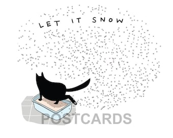 funny cat postcards (4) - black cat postcards - cat postcards - notecards - let it snow cards - holiday - christmas cards - fat cats