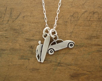 Sterling Surfing Necklace - Silver Surfer Pendant and Silver Volkswagen Bug Pendant