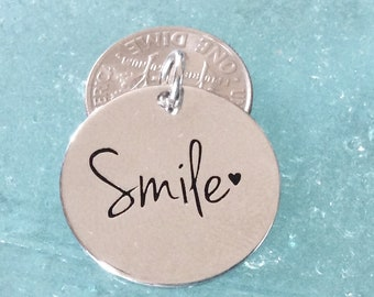 """1 - """"Smiles"""" Pendant, New Series, Silver plated necklace, Smiles Necklace, Encouragement Jewelry, Happiness"""