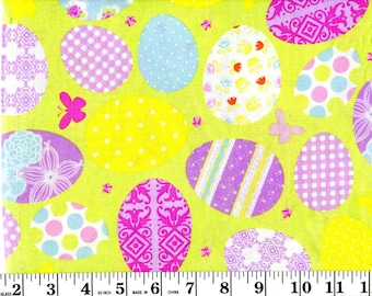 1 Yard 11 inches, Vintage Decorated Easter Eggs on Green