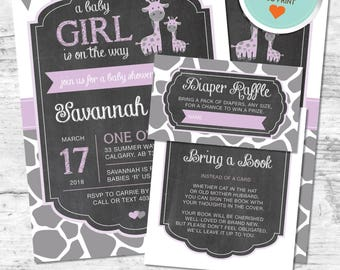 Giraffe Baby Shower Invitation, Giraffe Invitation, Purple, Gray, Flags, Spots, Chalkboard | DIY