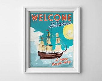 Peter Pan Nursery Art Print - Welcome to Neverland - Poster -  Nursery wall decor - Teal - Yellow - Bright - Nursery Print - SKU:9903