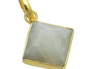 925  Solid Sterling Silver Rainbow Moonstone 12mm Bezel Set Gemstone Pendants