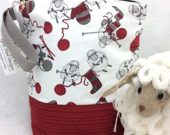 Medium Sheep Knitting Bag, Project Bag, Knitting Bag, Crochet Bag, Crochet Project Bag