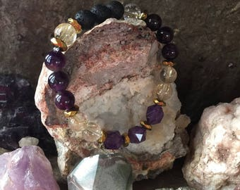 Amethyst, Rutilated Quartz (Venus Hair) and Lava Bead Bracelet