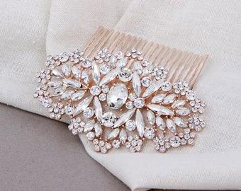 Bridal Hair Comb, Rose Gold Hair Comb, Wedding Hair Comb, Crystal Hair Comb, Bridal Hair Accessories, Rose Gold Bridal Hair Piece, Headpiece