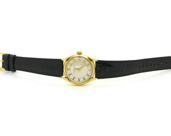 Vintage 14k Yellow Gold Girard Peregaux Gyromatic Watch - #971436 - Black Strap