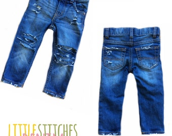 stitched jeans etsy