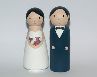 Wedding Cake Topper - Custom Cake Topper - Bride and Groom Cake Topper - Unique Cake Topper - Bride and Groom Cake Topper - Cake Topper