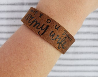 Leather Burned Cuff Bracelet || Proud Army Wife || FREE Shipping || Army Jewelry || Adjustable Snap Closure || Brown Leather