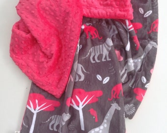 """Minky """"Jungle Tales Watermelon"""" Baby Blanket- Made To Order"""