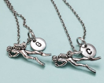Best friend necklace, scuba diver necklace, snorkeling necklace, bff necklace, sister, friendship jewelry, personalize, initial, monogram