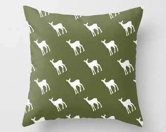 Woodland Deer Pillow Cover, rustic pillow cover, olive green pillow cover, rustic pillow, enchanted forest pillow, cedar green, choose color