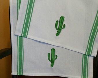 Cactus kitchen cafe' towels-cactus kitchen-bath towels-100% cotton-waffle weave vintage stripe flour sack towels-embroidered towels-saguaro