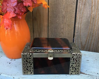 Vintage Lucite Box - Tyrolean NY - Tortoise Shell - Jewelry Box - Tyrolean Purse - Vanity Box