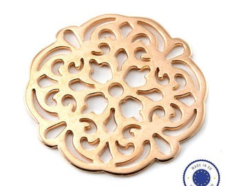 1 x 42mm - made in Europe - filigree pendant ROSE gold (pink GOLD)
