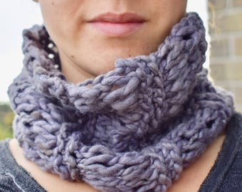 Fair-Trade Purple Cowl Scarf / Eco-Friendly Scarf / 100% Organic Cotton Scarf / Fall Scarf / Women's Scarf / Eco-Friendly Gifts