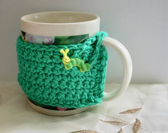 Green Mug Cozy Button Loop~Pick Your Button~