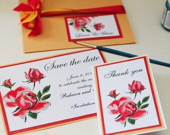 Hand painted personalised Roses wedding invitation