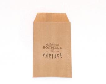 """10 small gift pouches / kraft bags """"The sweetest happiness is shared"""""""