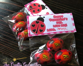 INSTANT DOWNLOAD Love Bug Lady Bug Printable Valentine Favor Bag Topper