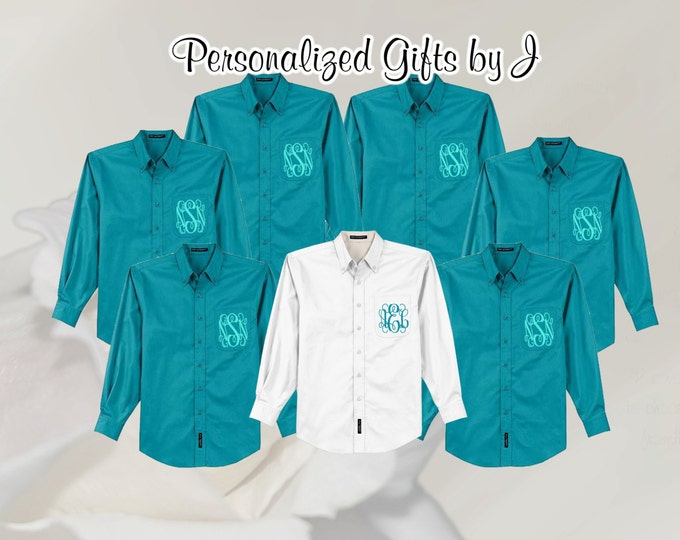 Monogrammed Oversized Bridal Party Shirt Set of 14 Personalized Button Down Shirt, Bridesmaids Gift, Bachelorette Party, Wedding Day Shirt