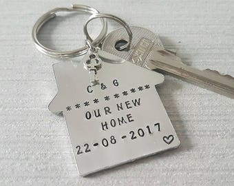 Personalised keyring, new home, first home, housewarming gift, hand stamped, house, key