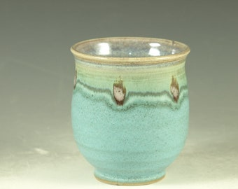 Green tea cup Yunomi in turquoise handmade wheel thrown stoneware teacup