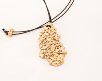 Large  SeaOval Filigree Pendent in Brass or Bronze. Inspired by the things found in the ocean filled with barnacles