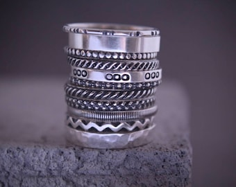 Sterling stackable rings.Stack rings.Silver rings.Stacking rings.Rustic rings.Band rings.Stackable rings.Hand made jewellery.Custom made.