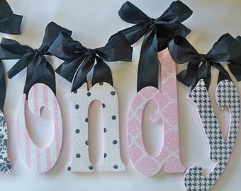 Pink and Black Wall Letters - Nursery Decor - Glitter Sparkle