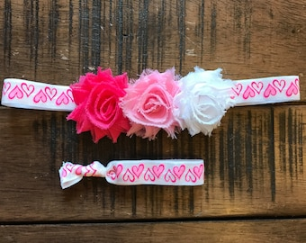 White with Red and Pink Hearts Headband, Valentines Day, Sweetheart Headband, Little girl hair accessories