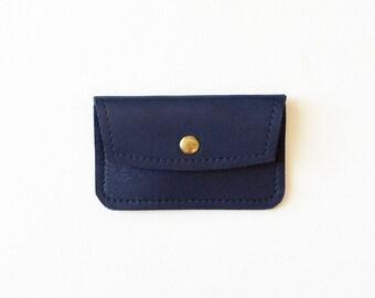 Navy Credit Card Wallet, Minimal ID Wallet, Business Card Wallet, Gift Card Holder, Metro Card Holder, Minimal Leather Credit Card Wallet