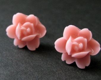 Pink Flower Earrings. Pink Lotus Rose Earrings. Post Earrings. Pink Earrings. Silver Stud Earrings. Pink Lotus Earrings. Handmade Jewelry.