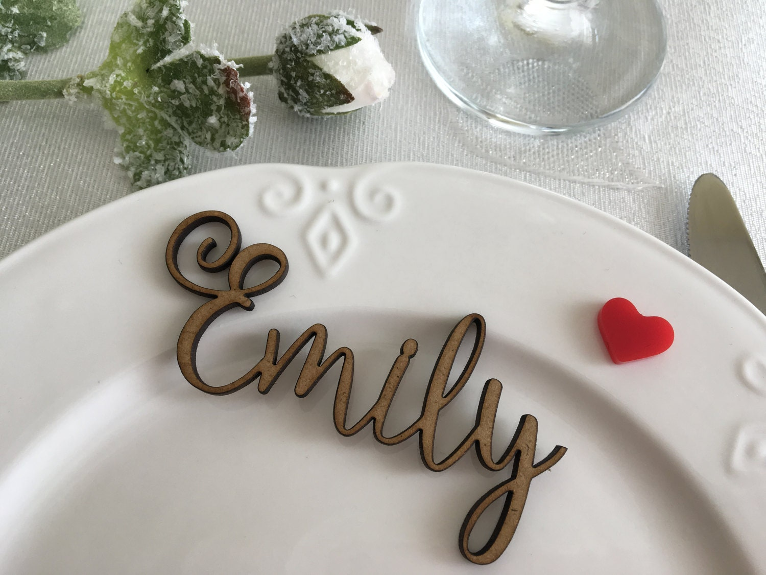 Wooden laser cut names Wedding table place Custom Name Place Setting ...