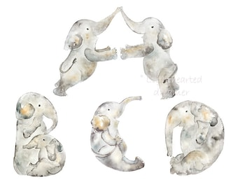 Baby Elephant Decor, Watercolor Elephants, Alphabet Nursery Letters, Elephant Nursery Art, Nursery Elephant Print, grey