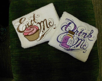 PAIR hand towels - Eat Me & Drink Me - Alice in Wonderland 15 x 25 inch for kitchen / bath MORE COLORS terry cloth