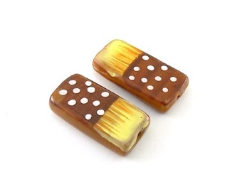"""2 Large Dotted """"Domino"""" Style Beads - Glass Beads"""